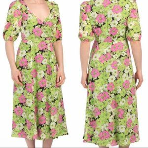 WAYF Surplice Neck Green floral midi dress New